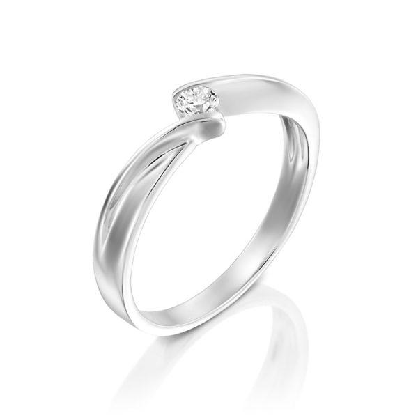 טבעת אירוסין האם, זהב לבן, 0.10 קראט