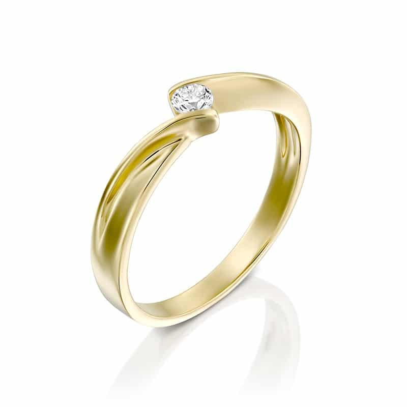 טבעת אירוסין האם, זהב צהוב, 0.10 קראט