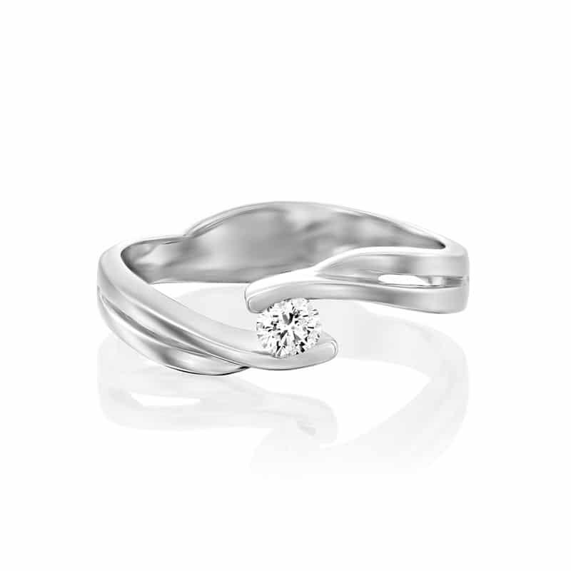 טבעת אירוסין סיגן בזהב לבן, 0.15 קראט