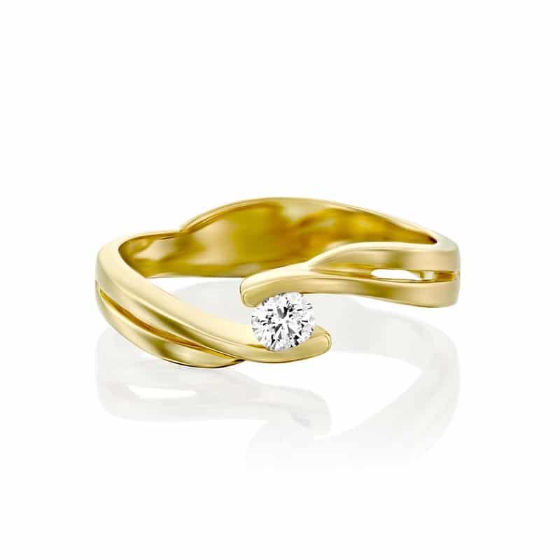טבעת אירוסין סיגן בזהב צהוב, 0.15 קראט