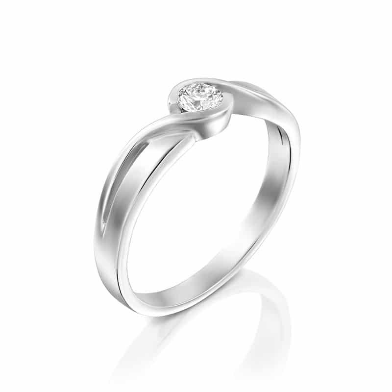 טבעת אירוסין פורס בזהב לבן, 0.15 קראט