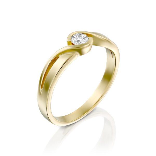 טבעת אירוסין פורס בזהב צהוב, 0.15 קרא