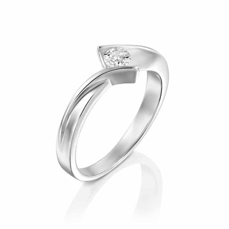 טבעת אירוסין נאוס בזהב לבן, 0.17 קראט