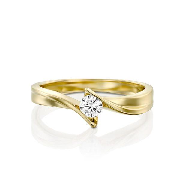 טבעת אירוסין נאוס בזהב צהוב, 0.17 קראט
