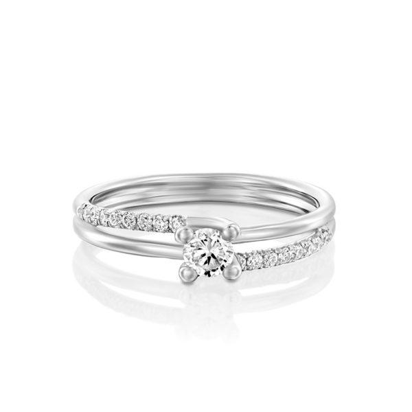 טבעת אירוסין ברייטון זהב לבן, 0.25 קראט
