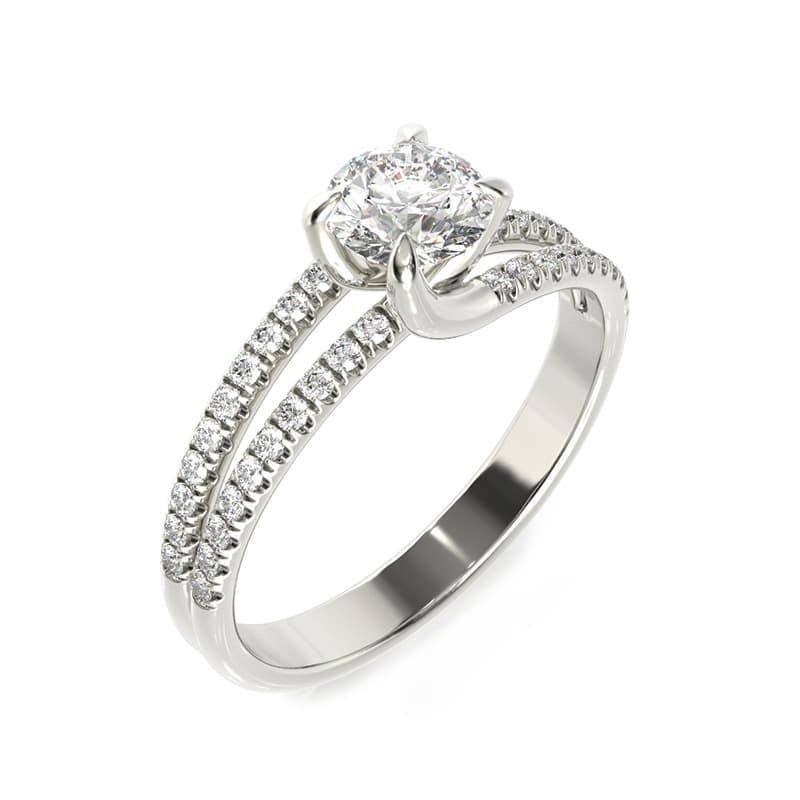 טבעת אירוסין ליון זהב לבן, 0.77 קראט