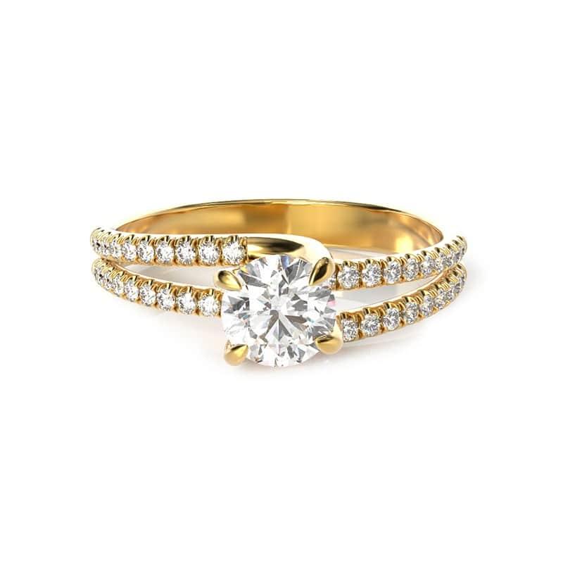 טבעת אירוסין ליון זהב צהוב, 0.77 קראט