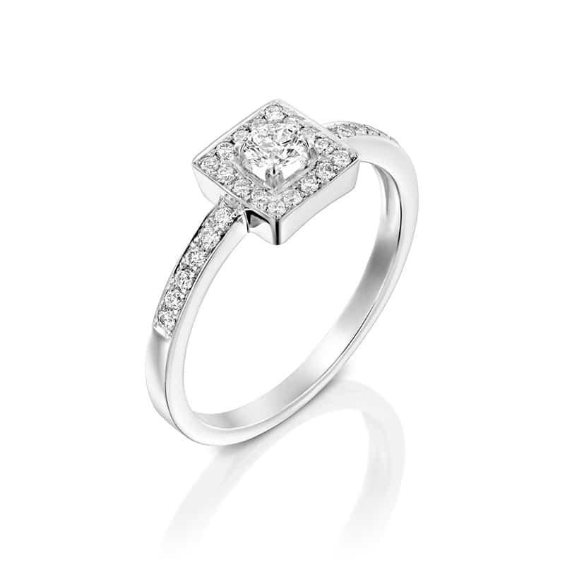 טבעת אירוסין סגוביה זהב לבן, 0.43 קראט