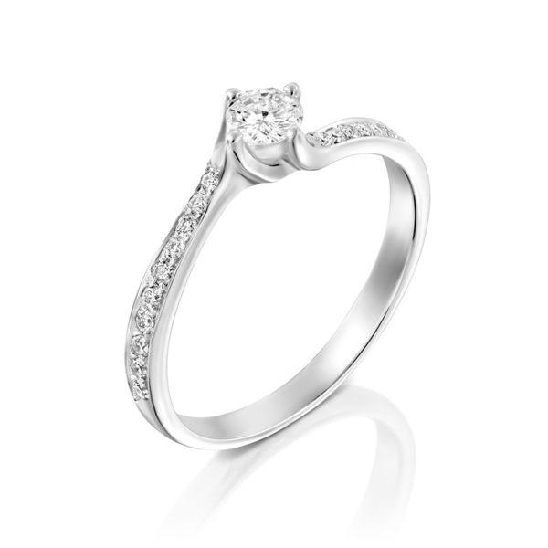 טבעת אירוסין קרלייל בזהב לבן, 0.35 קראט
