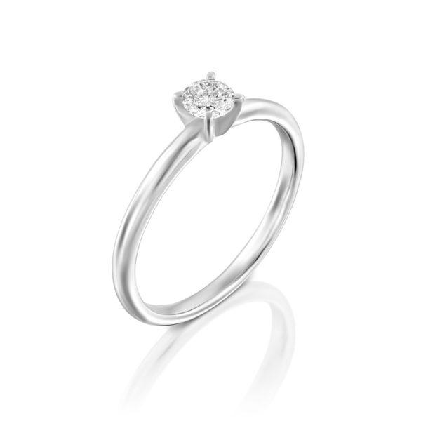 טבעת אירוסין מודלינג בזהב לבן, 0.25 קראט