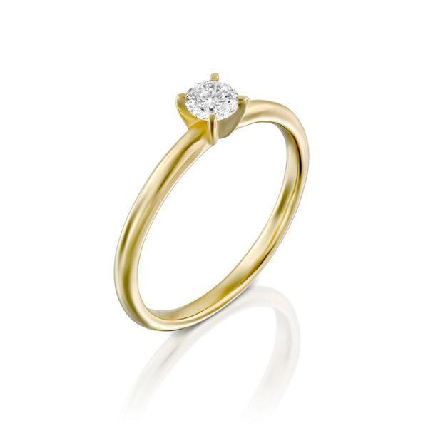 טבעת אירוסין מודלינג בזהב צהוב, 0.25 קראט