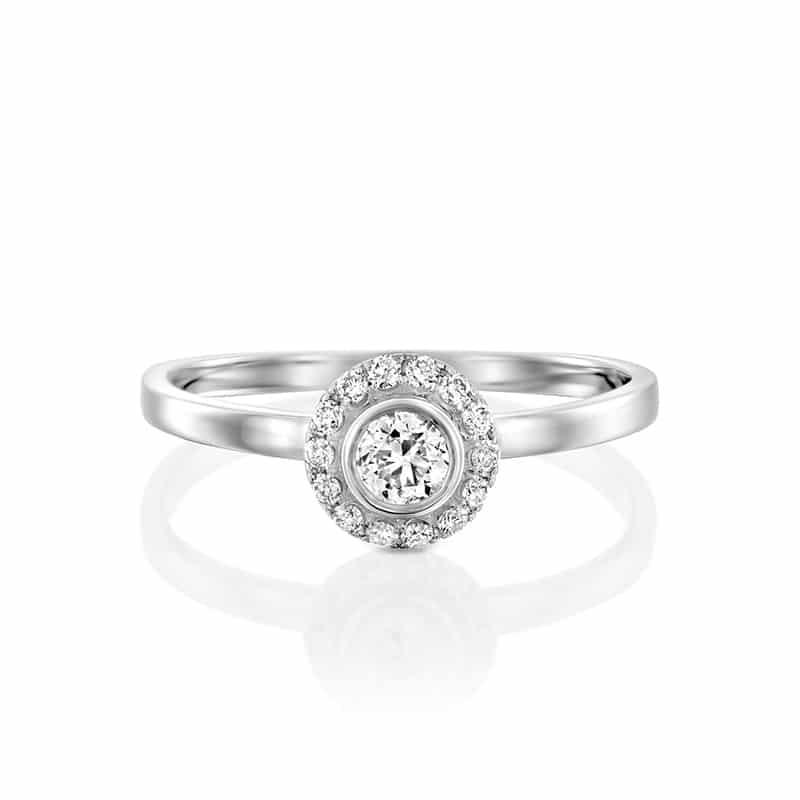 טבעת אירוסין טרסה זהב לבן, 0.29 קראט