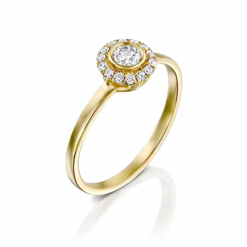 טבעת אירוסין סטייל HALO שינה חלקה