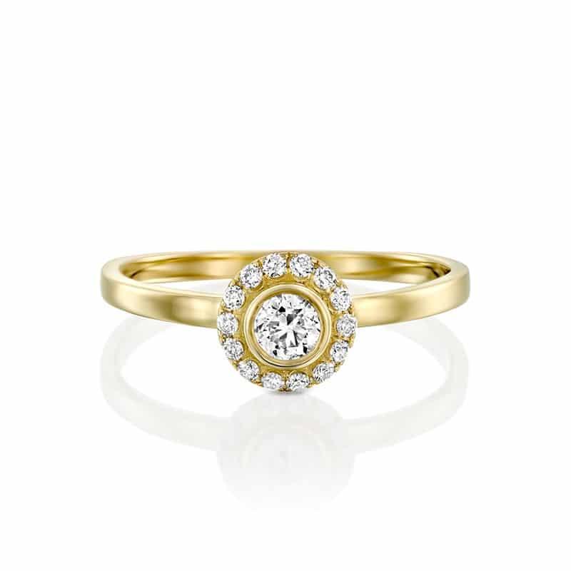 טבעת אירוסין טרסה זהב צהוב, 0.29 קראט