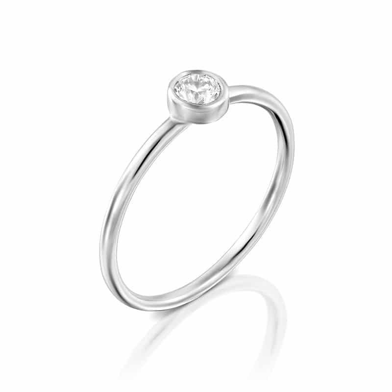 טבעת אירוסין זהב לבן שיבוץ כוס