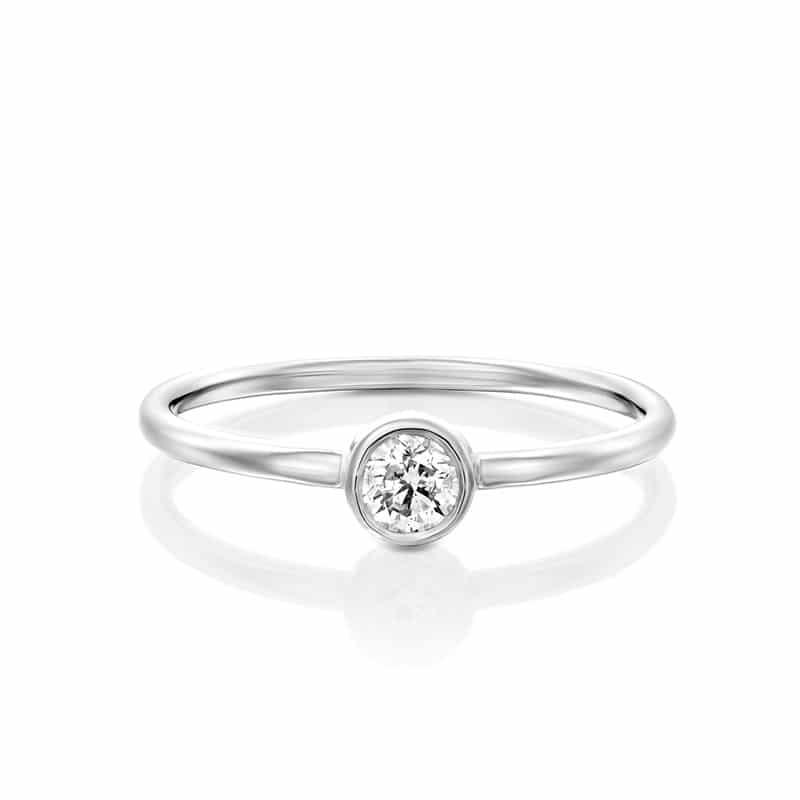 טבעת אירוסין האלן בזהב לבן, 0.22 קראט