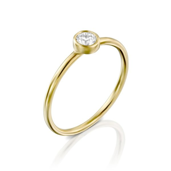 טבעת אירוסין האלן בזהב צהוב, 0.22 קראט