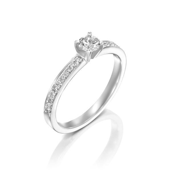 טבעת אירוסין בורדו זהב לבן 0.34 קראט