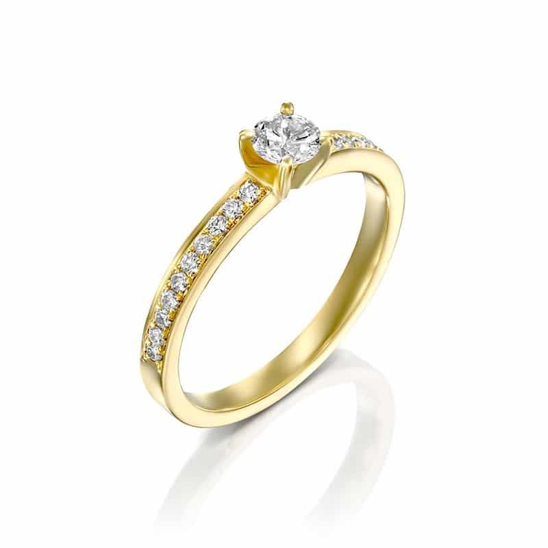 טבעת אירוסין בורדו זהב צהוב, 0.34 קראט