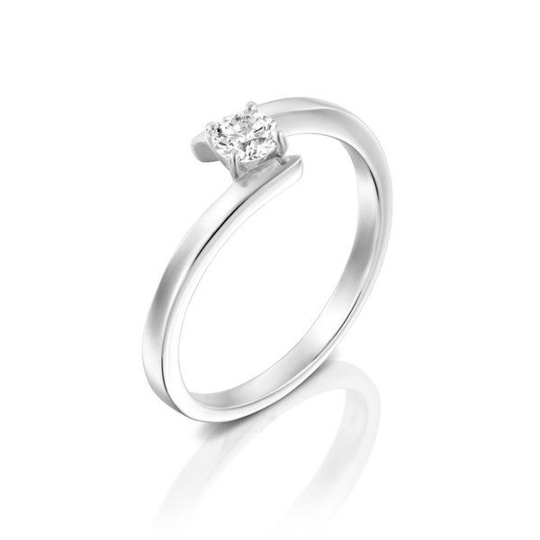 טבעת אירוסין ברלין זהב לבן, 0.25 קראט