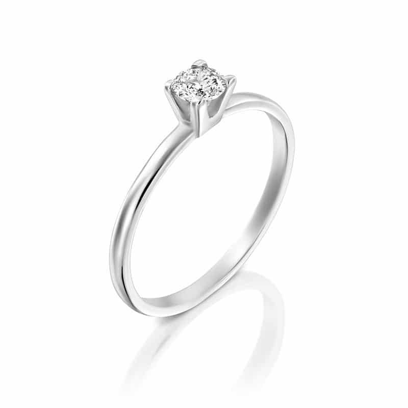 טבעת אירוסין הארד, בזהב לבן, 0.25 קראט