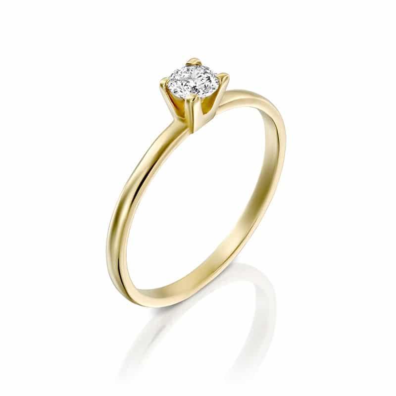 טבעת אירוסין הארד, בזהב צהוב, 0.25 קראט