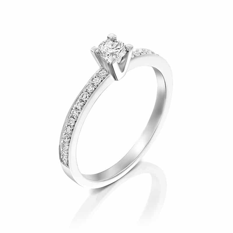 טבעת אירוסין סאלפורד בזהב לבן, 0.34 קראט