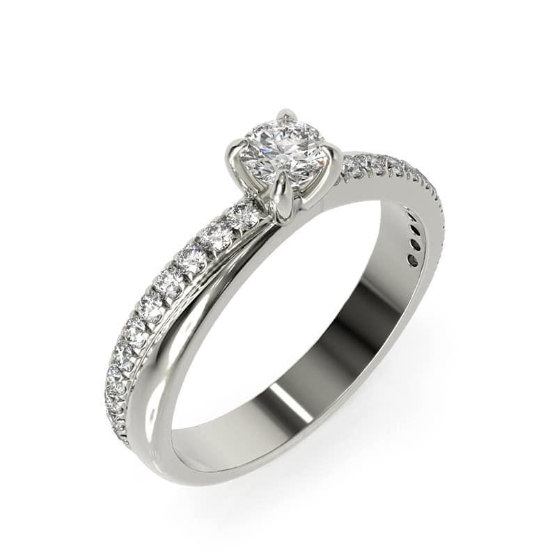 טבעת אירוסין רידינג זהב לבן, 0.44 קראט