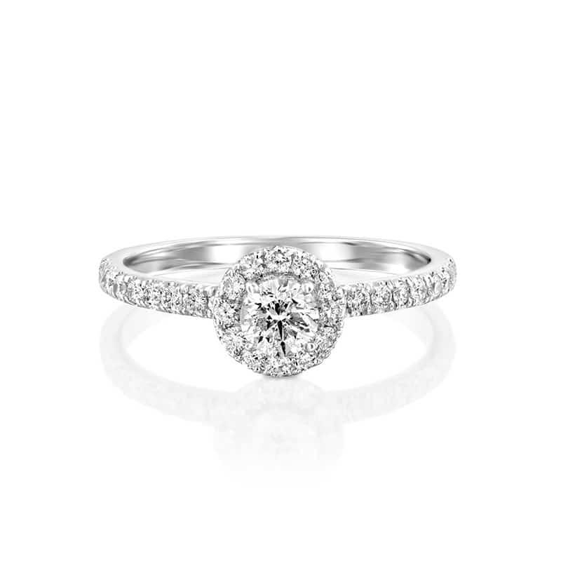 טבעת אירוסין אסטי זהב לבן, 0.99 קראט