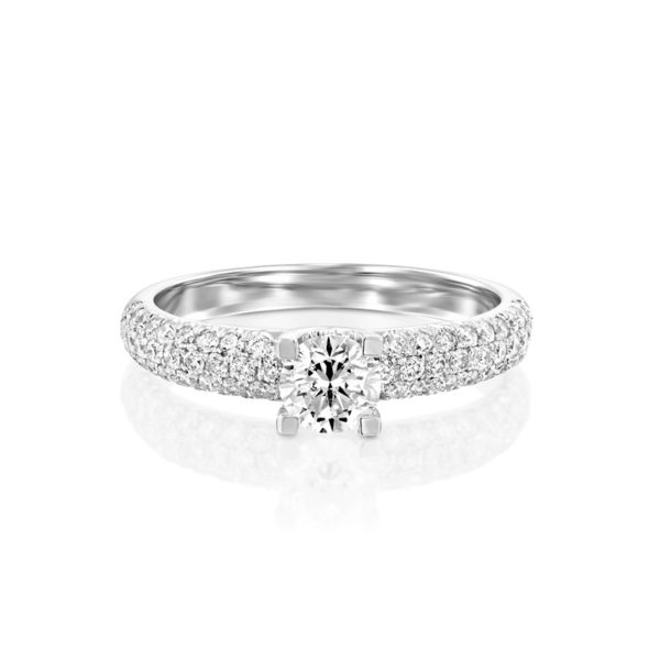 טבעת אירוסין ברוז' זהב לבן, 1.00 קראט