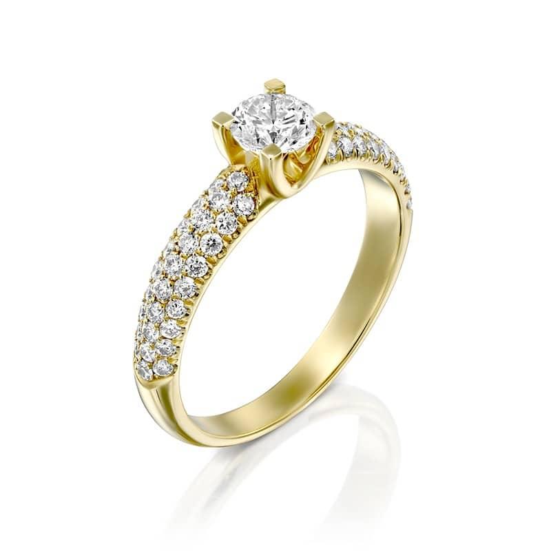 טבעת אירוסין יהלום מרכזי שיבוץ פאווה בצדדים