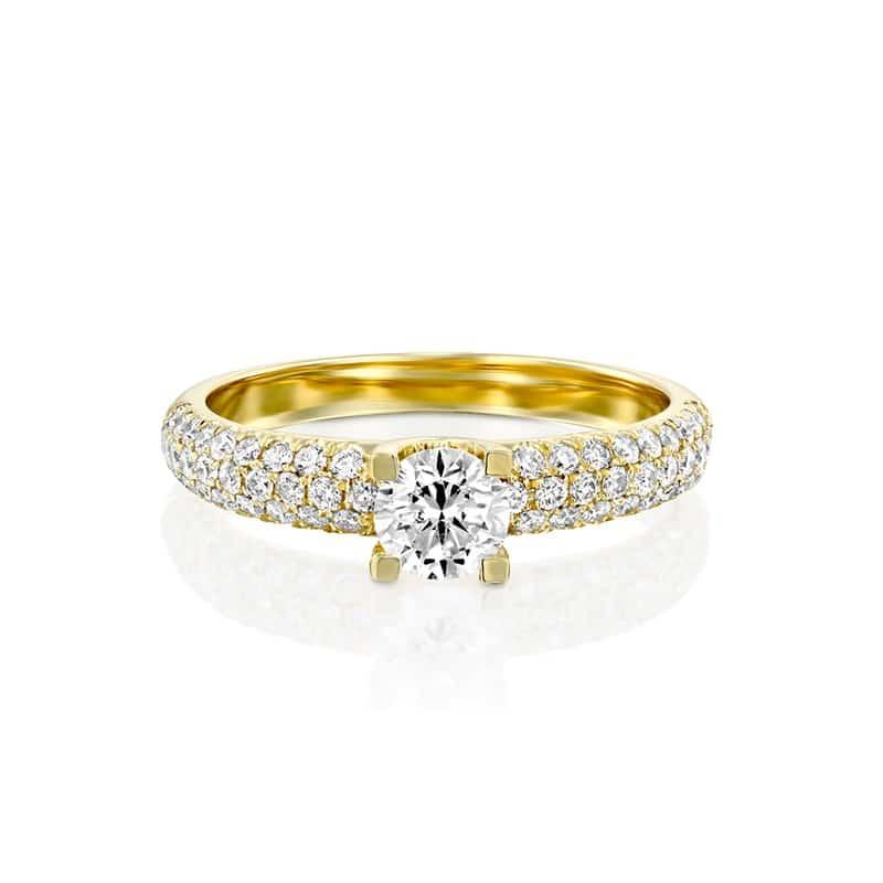 טבעת אירוסין ברוז' זהב צהוב, 1.00 קראט