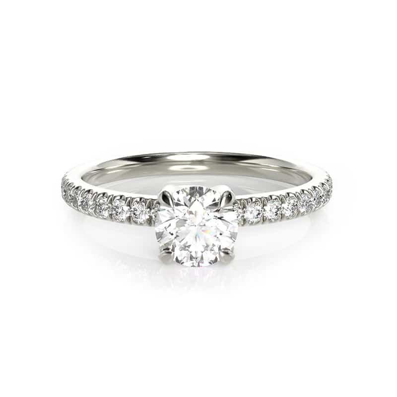 טבעת אירוסין לימוז' זהב לבן, 0.45 קראט