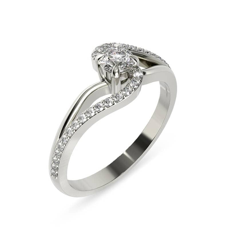 טבעת אירוסין שמברי זהב לבן, 0.46 קראט