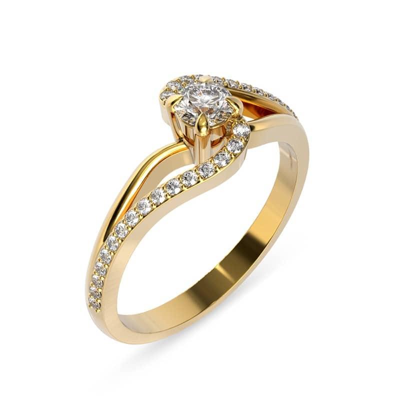 טבעת אירוסין שמברי זהב צהוב, 0.46 קראט