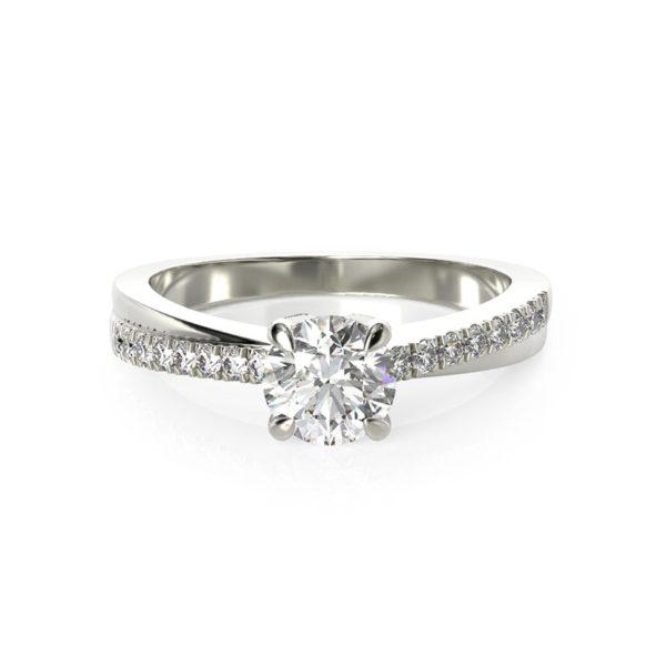 טבעת אירוסין אייר זהב לבן, 0.67 קראט