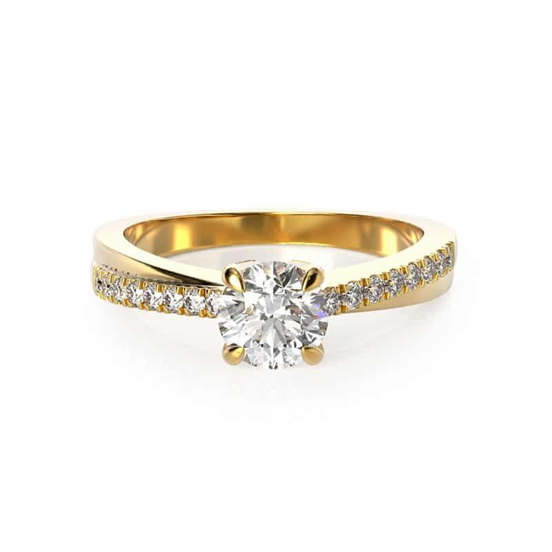 טבעת אירוסין אייר זהב צהוב, 0.67 קראט