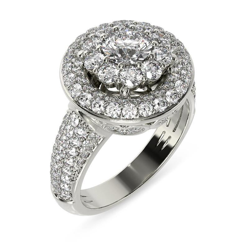 טבעת אירוסין פיזה עגולה זהב לבן, 1.61 קראט