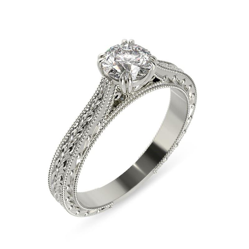 טבעת אירוסין בולוניה זהב לבן, 0.45 קראט