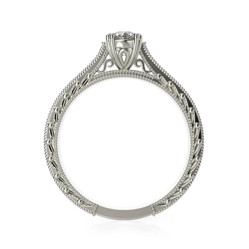 טבעת אירוסין וינטאג' זהב לבן
