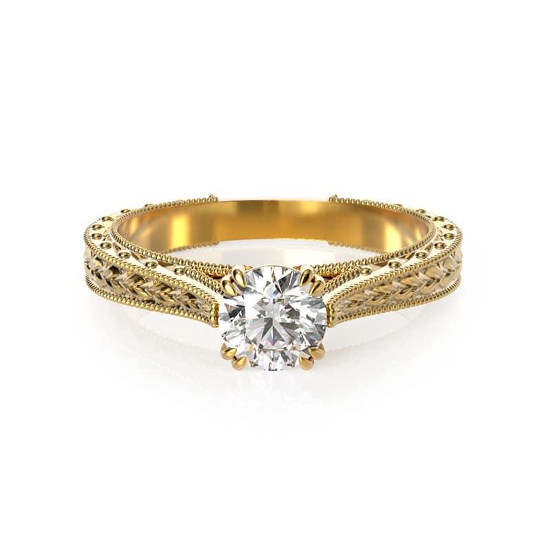 טבעת אירוסין בולוניה זהב צהוב, 0.45 קראט