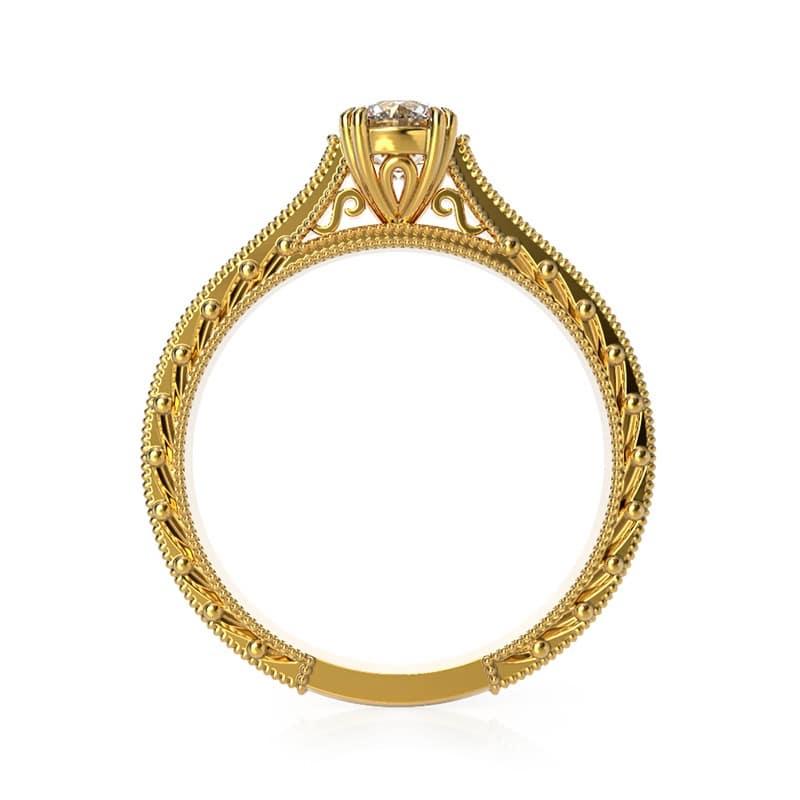 טבעת אירוסין וינטאג' זהב צהוב