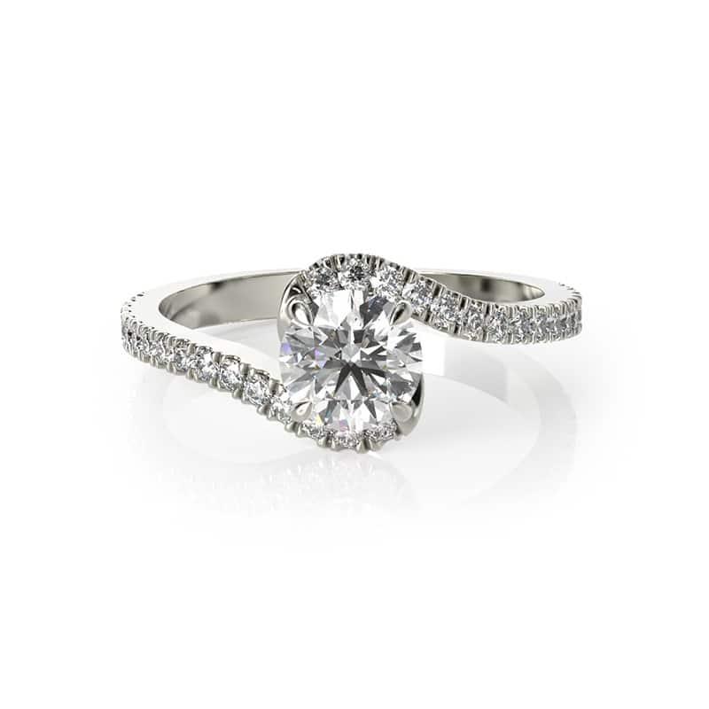 טבעת אירוסין קינגסטון זהב לבן, 0.52 קראט