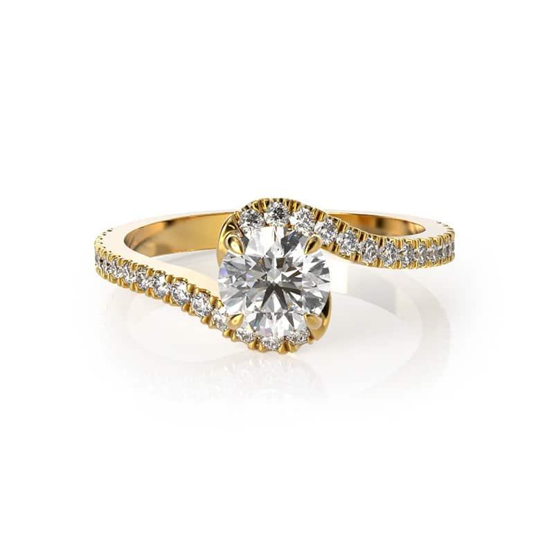 טבעת אירוסין קינגסטון זהב צהוב, 0.52 קראט