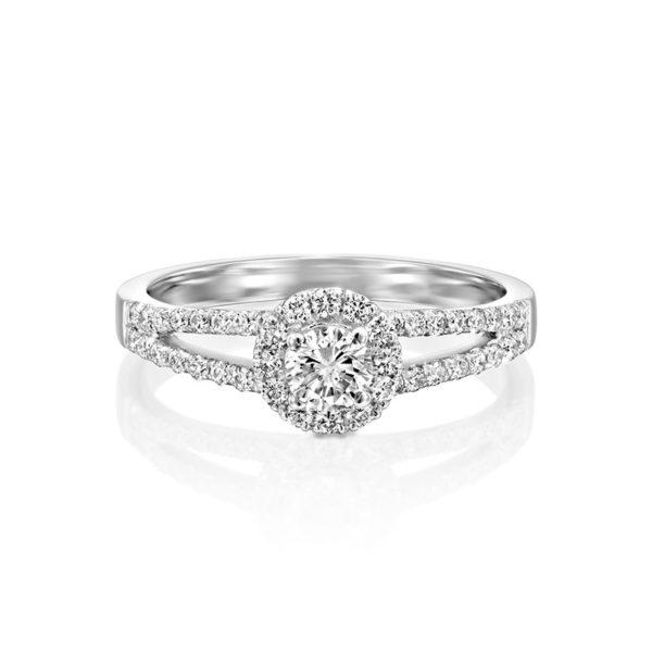 טבעת אירוסין אלמירה הקטנה זהב לבן, 0.55 קראט