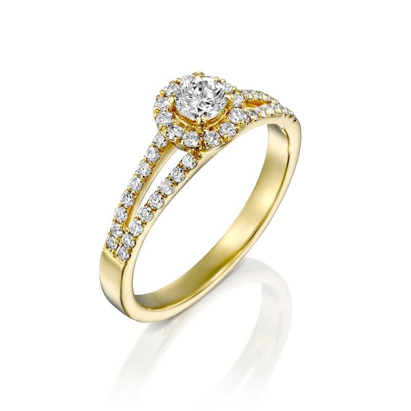 טבעת אירוסין אלמירה הקטנה זהב צהוב, 0.55 קראט