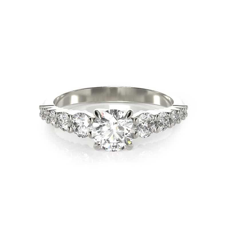 טבעת אירוסין פריז זהב לבן, 0.79 קראט