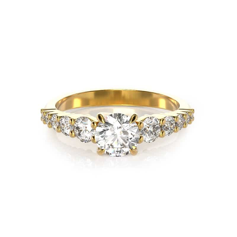 טבעת אירוסין פריז זהב צהוב, 0.79 קראט