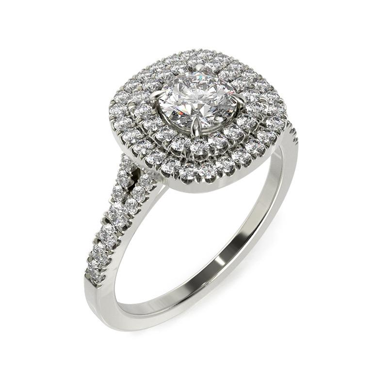 טבעת אירוסין קורונה זהב לבן, 1 קראט