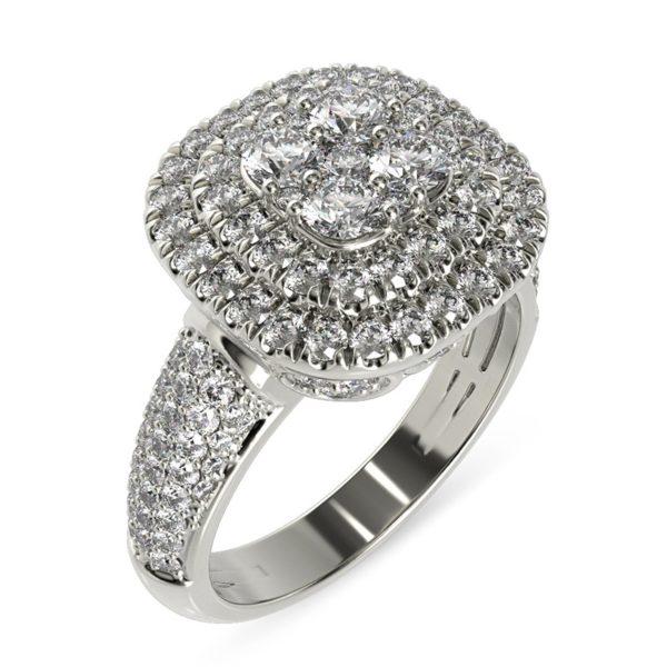 טבעת אירוסין פיזה מרובעת זהב לבן, 1.42 קראט